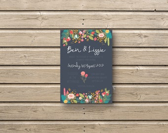 Chalkboard flowers wedding invitations invites / RSVP / stationery set