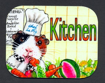 Guinea Pig art kitchen door sign cavy laminated sign self-adhesive from original painting by Suzanne Le Good