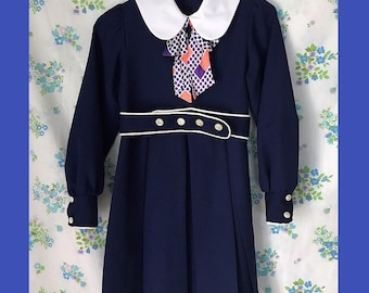 Navy long sleeve vintage dress with cute collar and necktie