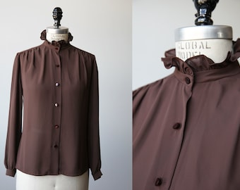 Vintage Cocoa Brown Blouse with Ruffled Stand Collar Edwardian Inspired 70s Secretary Classic S
