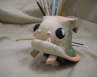 Polymer Clay Creature 'Knit-Cap Gnome' by LesserBeings