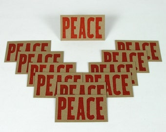 RED PEACE Mini Hand Printed Letterpress Cards - 20 pack gift tags