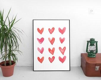 Heart Art, Love Hearts, Love Print, Modern Minimal, Art Modern, Pink Decor, Heart Print, Print at Home, Love Sign, Wall Prints