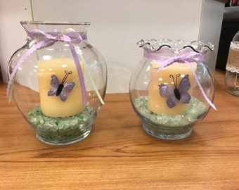Butterfly Candle in Fishbowl Vase