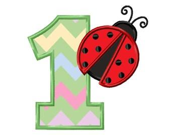 Ladybird 1st Birthday Applique Machine Embroidery DESIGN NO. 616