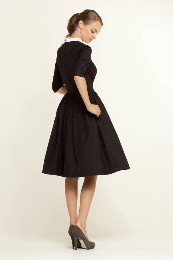white size order Plus 1950s and fabric Handmade Made to pan dress dress dress collar dress dress Black dress Italian Little black 50s Peter XPn6OqRvR