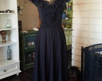 1960's Black Ruffled Neck Polyester Evening Dress