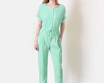 Mint Jumpsuit in Crinkled Cotton Vintage Romper Playsuit Onesie S M