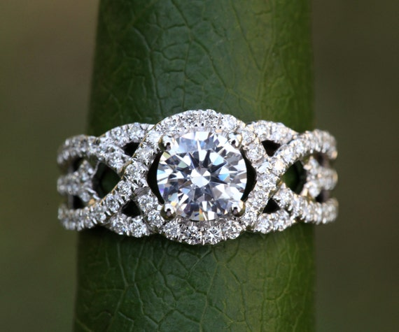 TWIST OF FATE 14k Diamond Engagement Ring Halo Unique