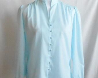 Vintage 1980s Diane Von Furstenberg Light Blue Long Sleeve Blouse, Vintage Diane Von Furstenberg, 1980s Diane Von Furstenberg, 1980s Blouse