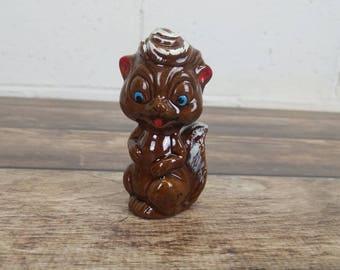 Vintage Brown Squirrel Chipmunk Anthropomorphic Figurine Knick Knack Pompadour Blue Eyes Kitsch Tchotchke