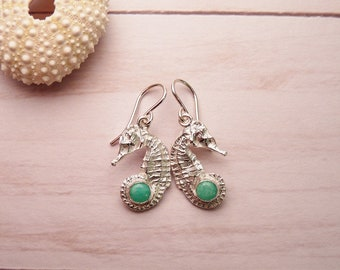 Silver Seahorse Earrings with Amazonite