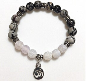 Mala Yoga Bracelet, Yoga Present, Yoga Healing Bracelet, Healing Elastic Bracelet, Stress Relief Bracelet, Calming Yoga Bracelet, Yoga Gift