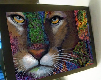 greeting card print of original art- cougar Zentangle mountain lion spirit animal