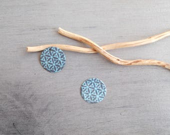Set of 4 round sequins dark gray and light turquoise