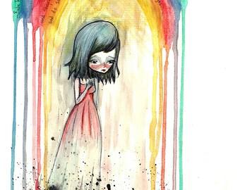 """5x7 fine art print - """"Babe Rainbow"""" - artwork by Jessica von Braun - Artwork inspired by Melanie Safka - Watercolor print"""
