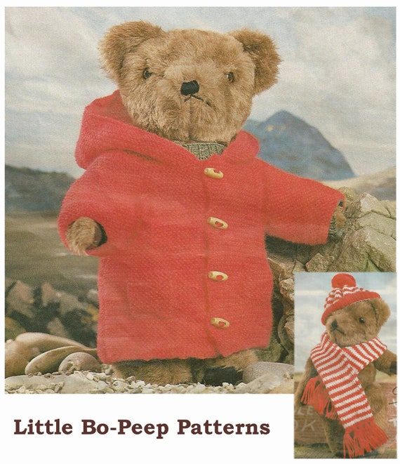Vintage Teddy Bear Clothes Duffle Coat Hat and Scarf knitting