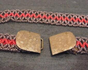 Vintage red and silver beaded belt circa 1930s or 1940s beadwork belt Christmas belt nurse belt.  Vintage belt buckle.  Adjustable belt.