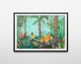 Kew Gardens Tropical Greenhouse Illustration A4 Art Print