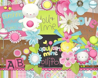30%Off Good Day Digital Scrapbooking Kit,Little Baby Girl ,Easter Cliparts , Pink digi ,Bunny Cliparts