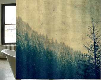 Fabric Shower Curtain - Original Photography by RDelean Designs - mountains, snow, forest, woodlands, PNW,