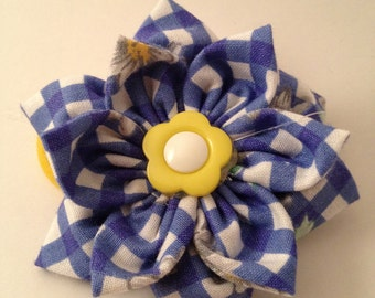 Daisy Blue and Plaid Dot Ponytail