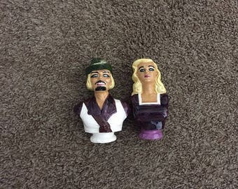 Robin Hood and Maid Marian Salt & Pepper Shaker Set - Vintage Cork Style Stopper Shakers - 5 Inch Tall Ceramic Pair of Two