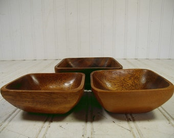 Rustic Wood Bowls Vintage Trio Monkey Pod Accent Collection - Retro Group of 3 Small Wooden Primitive Trinket Dishes - Ready for Repurposing