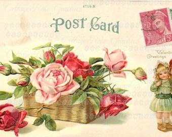 Valentine Greetings Large digital download Pink Roses vintage Postcard single image ECS buy 3 get one free