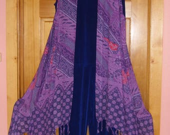 Lavender & Purple with Red Accents Beautiful Batik Flowing Long Vest, So Comfortable Easy Care Wear Casual, Dressy, Yoga Dance, Swim Coverup