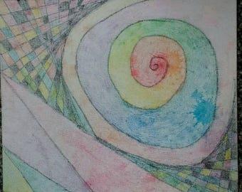 Trippy crayon drawing