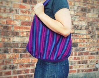 Bohemian Shoulder Purse // Purple Purse //  Fair Trade Handmade Bag from Nicaragua // Hippie Hobo Bag