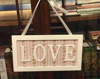 wooden 'love' plaque