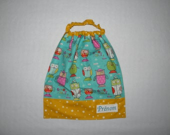 Starry towel at neckline elasticated customizable owls on turquoise and yellow background