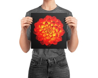 Orange and yellow flower digital painting art, square poster