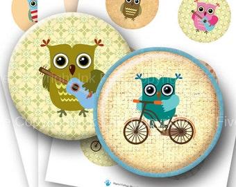 Little Owls  2.5 inch round printable images Digital Collage Sheet for pocket mirrors, magnets, cards, badges. Instant digital download