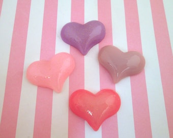Four Assorted Heart Cabochons, Pink Heart Cabochons, #679