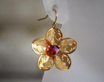 Gold Flower Earrings -- Gold Flowers, Polkadot Glass, Gold