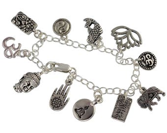 Zen Buddha Charm Bracelet - Buddhist Hindu and Japanese symbols- om, yin yang, lotus- Asian wisdom - Eastern Philosophy- free shipping USA