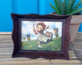 SALE-FREE SHIPPING-Vintage Rare 1970's Framed Music Box Wall Mount-Russ Berrie Co.-Made in U.S.A.-Hummel like Kids Catching Butterflies