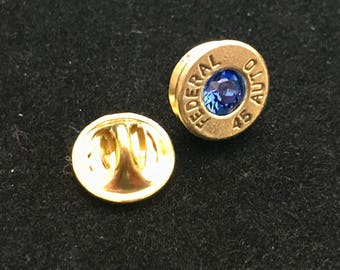 Lapel Pins hand-crafted from .45 Auto case heads