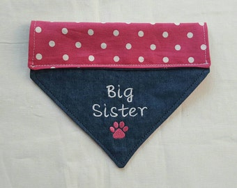 Big Sister Dog Bandana, Paw Print, Hot Pink Wht Dots, Dog Bandana, Pet Accessories, Dogs, New Baby, Pet Clothing Neckwear, Baby Announcement