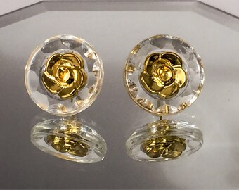 Gold rose earrings, rose stud earrings, gold rose studs, button earrings, simple earrings, rose jewelry, flower earrings, gold flower