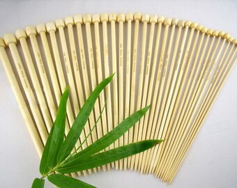 15 Pairs 34cm Bamboo Single Pointed Knitting Needles
