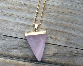 Rose Quartz Raw Crystal Triangle, Rose Quartz Necklace, Crystal Necklace, Triangle Necklace