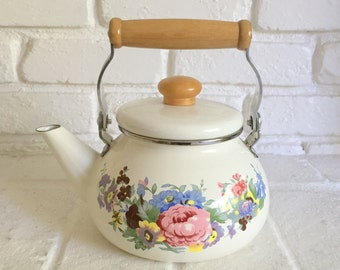 Vintage Enamel Kettle, Floral Ivory Teapot with wood handle, Cottage Chic kitchen decor