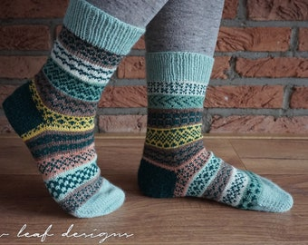 Striped and Stranded Socks PDF knitting pattern