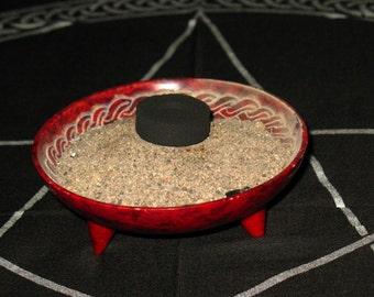 Red Soapstone Incense Burner~Celtic Design~Altar Supply
