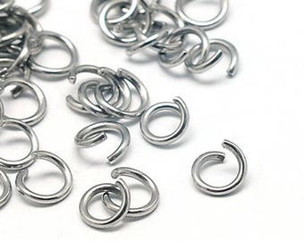 100pcs 304 Stainless Steel Jump Rings 6mm x 1mm (B160d)
