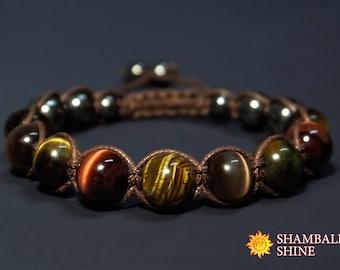Healing Beads Bracelet Tiger eye macrame Bracelet Brown Stone Hawk Eye gemstone Brown cord bracelet Brown cat eye Unisex woven bracelet